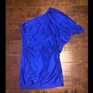 Formal Blue One Shoulder Mini Dress